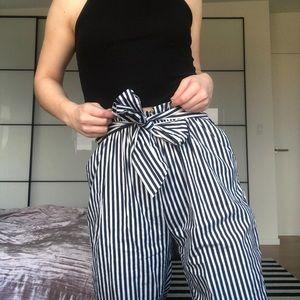 striped zara paperbag trousers